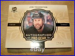 18/19 The Cup Joe Thornton Autographed Pro Gear Auto Patch Booklet /12