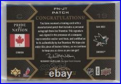 2008-09 Upper Deck UD Black Pride of a Nation Gold /10 Joe Thornton Patch Auto