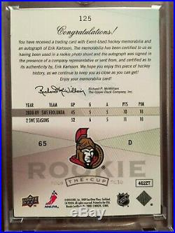 2009-10 UD The Cup ERIK KARLSSON Auto 2 Color Patch Jersey RC Rookie 57/249