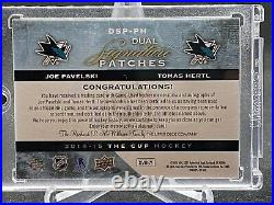 2014-15 UD The Cup Dual Signature Patches Tomas Hertl Joe pavelski Auto #/35