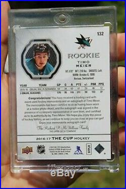 2016-17 Timo Meier UD The Cup Auto Patch #132 Ser 155/249 Rookie RC