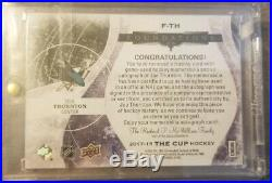 2017-18 The CUP Joe THORNTON Cup FOUNDATIONS Tag Patch Auto 1/1. San Jose SHARKS