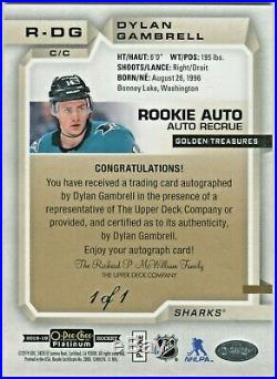 2018-19 O-Pee-Chee Platinum Golden Treasures Rookie Auto 1/1 Dylan Gambrell