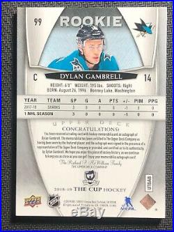2018-19 UPPER DECK THE CUP DYLAN GAMBRELL ROOKIE SHARK PATCH AUTO #ed 82/249