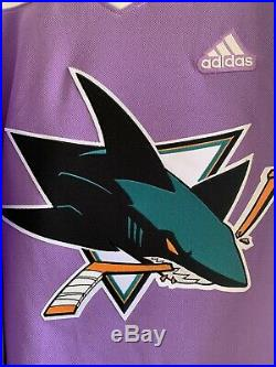 Adidas San Jose Sharks Hockey Fights Cancer Mens Authentic Jersey 54/XLarge NWT