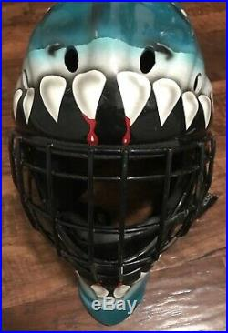 Itech Adult Size Hockey Goalie Mask Used Condition San Jose Sharks Free Shipping