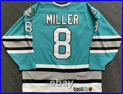 Kevin Miller 1994/95 Teal San Jose Sharks Game Used Worn Jersey, Photo Matches