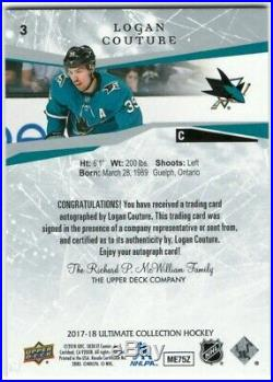Logan Couture 17/18 Upper Deck UD Ultimate Collection Onyx Autograph Signed 1/1