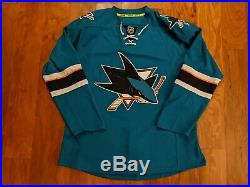 NHL San Jose Sharks Reebok Edge Authentic Teal Home Jersey Size 50