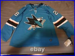 NHL San Jose Sharks Timo Meier Adidas Authentic Home Teal Hockey Jersey Size 54