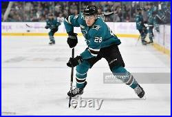 Timo Meier 2018/19 Game Worn Used Teal San Jose Sharks Jersey, All Star Patch