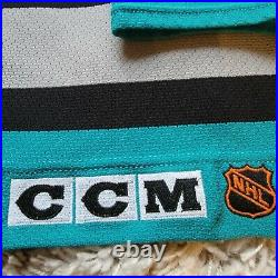 Vintage Authentic MiC San Jose Sharks White CCM Jersey Made In Canada